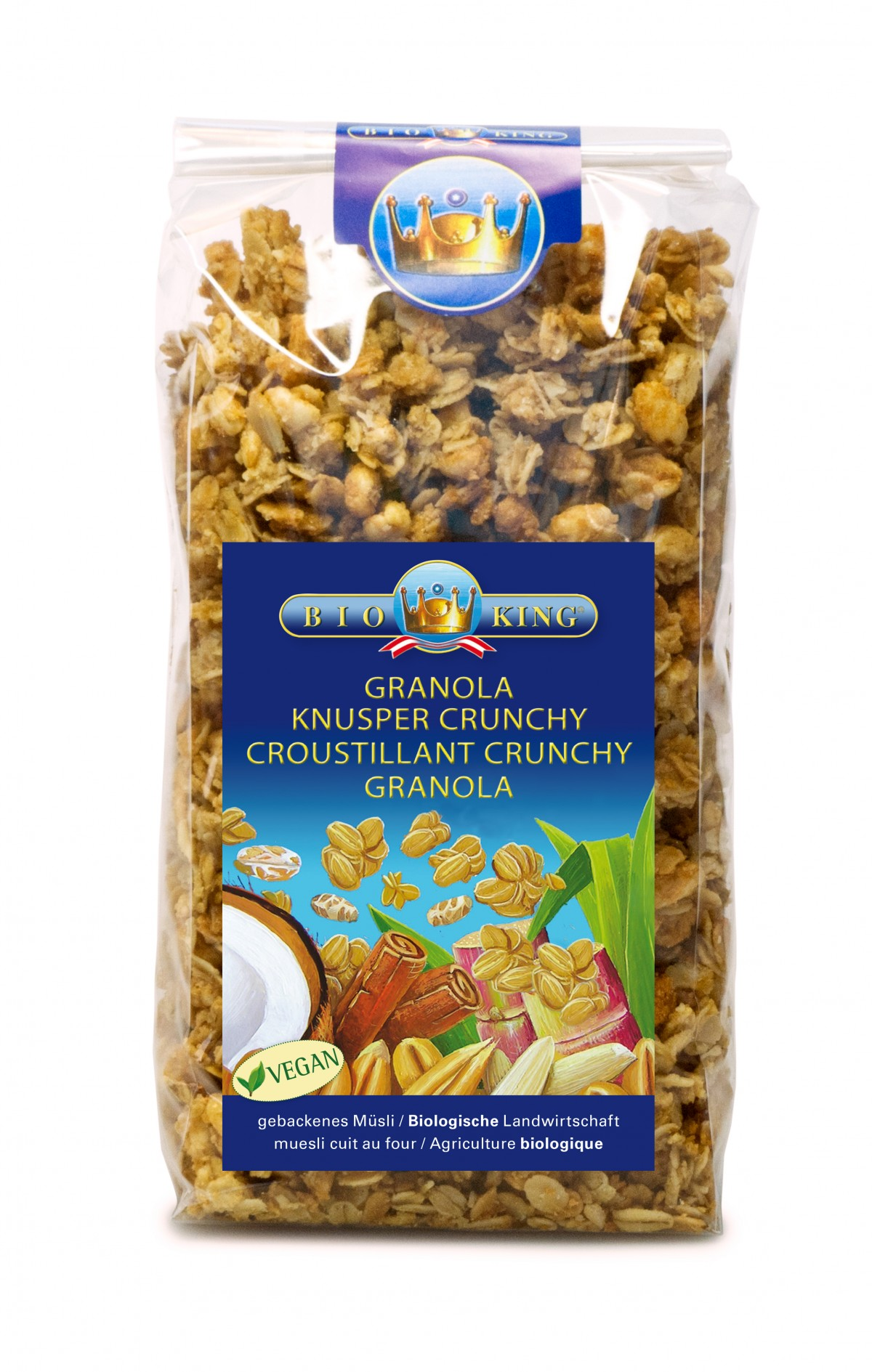 bio king bio knuspercrunchy granola 375g homoeosana. Black Bedroom Furniture Sets. Home Design Ideas