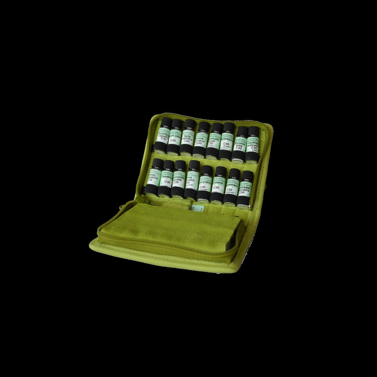homöopathische Taschenapotheke à 32 homöopathische Einzelmittel nach Dr. M.S. Jus im Bio - Lederetui Lotus