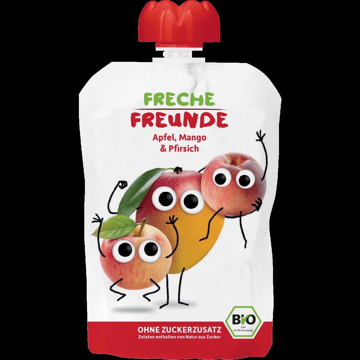 Freche Freunde Quetschmus Apfel, Mango & Pfirsich Beutel 100g (6er Pack)