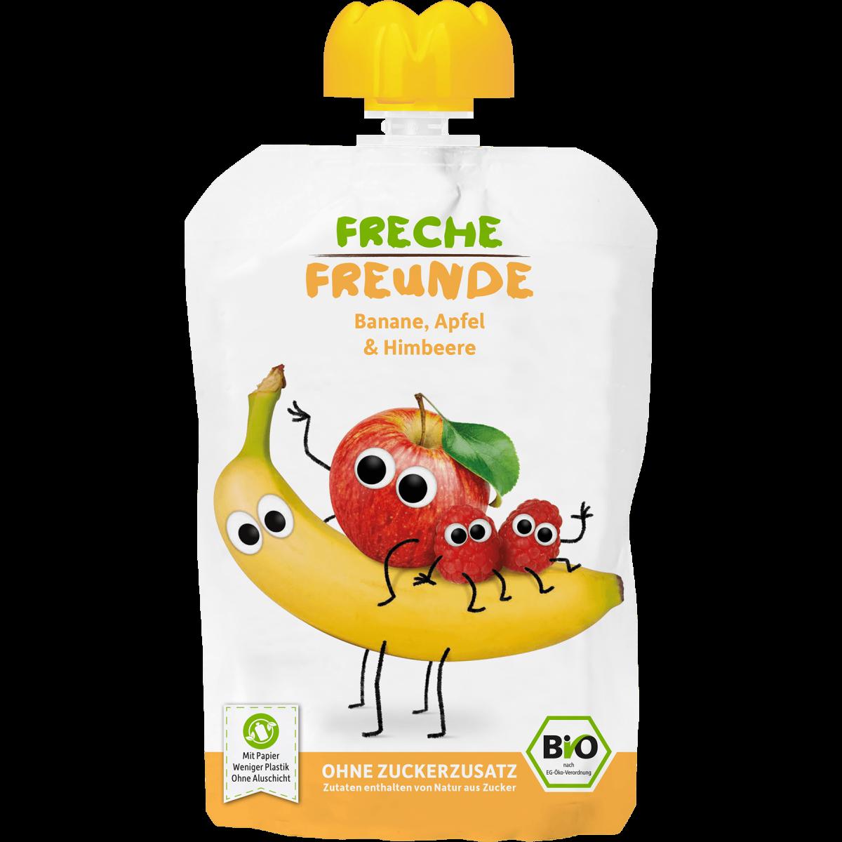 Freche Freunde Quetschmus Banane, Apfel & Himbeere Beutel 100g (6er Pack)