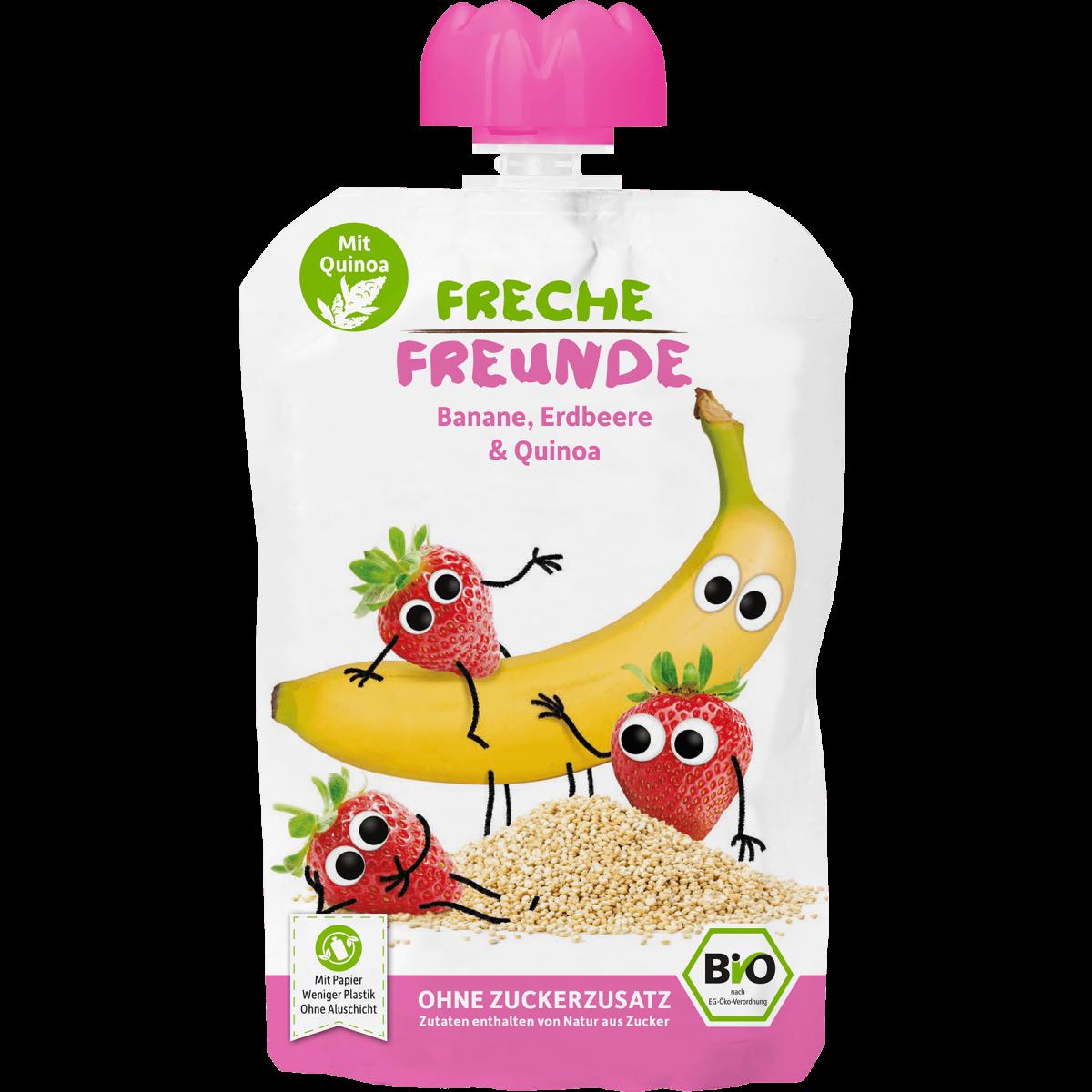 Freche Freunde Quetschmus Banane, Erdbeere & Quinoa Beutel 100g (6er Pack)