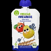 Freche Freunde Quetschmus Apfel, Birne, Blaubeere & Dinkel Beutel 100g (6er Pack)