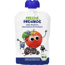 Freche Freunde Quetschmus Apfel, Blaubeere, Johannisbeere & Brombeere Beutel 100g (6er Pack)