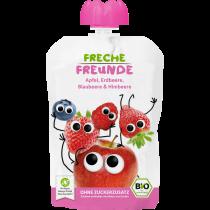 Freche Freunde Quetschmus Apfel, Erdbeere, Blaubeere & Himbeere Beutel 100g (6er Pack)