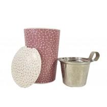 """Tee Tasse """"Stone Lilac"""" mit Sieb (lila/weiss)"""