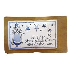 """Teegruss Karte """"mit einem sternenglitzerzauber weihnachtsgruss"""""""