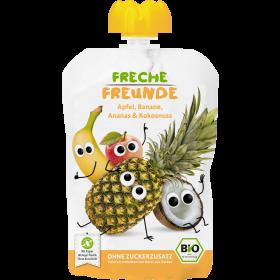 Freche Freunde Quetschmus Apfel, Banane, Ananas & Kokosnuss Beutel 100g (6er Pack)